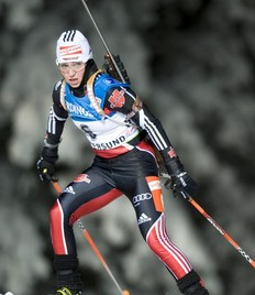 German's Andrea Henkel competes during the Women's Biathlon 15 km individual World Cup race in Oestersund on December 1, 2010. Henkel took the ninth place and Anna-Carin Zidek won the race.