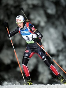 German's Tina Bachmann competes during the Women's Biathlon 15 km individual World Cup race in Oestersund on December 1, 2010. Bachmann took the 18th place and Anna-Carin Zidek won the race.