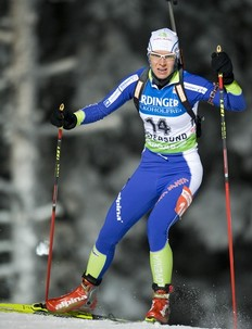 Slovenia's Teja Gregorin skis on her way to the 7th place at the Women's Biathlon 15km individual race on December 1, 2010 in Oestersund, Sweden.