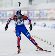 Russia's Olga Zaitseva competes during the women's World Cup Biathlon 7.5 km sprint race in Oestersund on December 3, 2010. Zaitseva ended 8th.