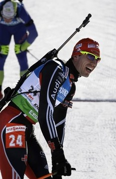 Winner Arnd Peiffer of Germany reacts after crossing the finish line in the men's 10 km sprint at the IBU World Championships Biathlon at Khanty-Mansiysk, 2759 km North-East of Moscow, Russia, Saturday, March 5, 2011.