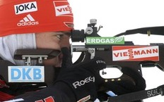 Arnd Peiffer of Germany shoots during the men's 12.5 km pursuit race at the IBU Biathlon World Championships in Khanty-Mansiysk, Western Siberia, Russia, March 6, 2011.