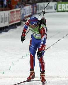 Maxim Maksimov of Russia crosses the finish line during the men's 20 km individual race at the IBU Biathlon World Championships in Khanty-Mansiysk, March 8, 2011.