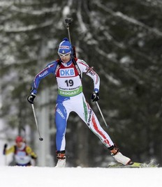 Michela Ponza of Italy competes during the women's 15 km individual race at the IBU Biathlon World Championships in Khanty-Mansiysk, March 9, 2011.
