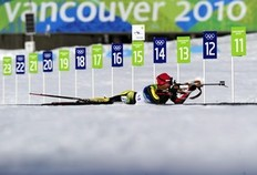 Lithuania Diana Rasimoviciute competes in the women's Biathlon 15km Individual at Whistler Olympic Park on February 18, 2010 during the Vancouver Winter Olympics.