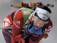 Ann Kristin Aafedt Flatland of Norway competes in the women's 7.5 km sprint event of the IBU biathlon World Cup in the eastern German town of Oberhof on January 8, 2011. Flatland won the race ahead of Magdalena Neuner of Germany (2nd) and Andrea Henkel of Germany (3rd).