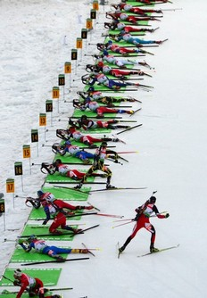 Athletes compete in the men's 15 km mass start event of the IBU biathlon World Cup in the eastern German town of Oberhof on January 9, 2011. Norway's Tarjei Boe won the competition ahead of Norway's Emil Hegle Svendsen (2nd) and Russia's Ivan Tcherezov (3rd).