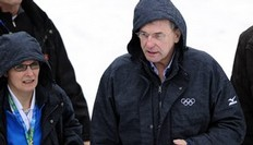 IOC President Jacques Rogge attends the women's Biathlon 7.5km Sprint at the Whistler Olympic Park during the Vancouver Winter Olympics on February 13, 2010.