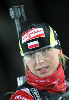 OSTERSUND, SWEDEN — DECEMBER 02: Krystyna Palka of Poland looks on prior to the Women's 15 km Individual event in the E.ON Ruhrgas IBU Biathlon World Cup on December 2, 2009 in Ostersund, Sweden.