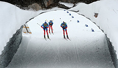 Andrei Makoveev (L) Alexey Volkov (C) And Timofey Lapshin (R) Of Russia Compete