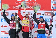Second-placed Germany's Andreas Birnbacher (L), Winner Norway's Emil Hegle Svendsen (C) An...
