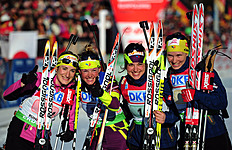(L-R) France's Marie Laure Brunet, Marie Dorin Habert, Sophie Boilley And Anais Bescond Ce...