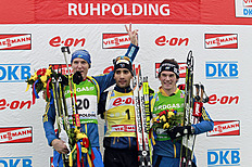 (FRANCE OUT) Martin Fourcade Of France Takes 1st Place, Bjorn Ferry Of Sweden Takes 2nd Pl...