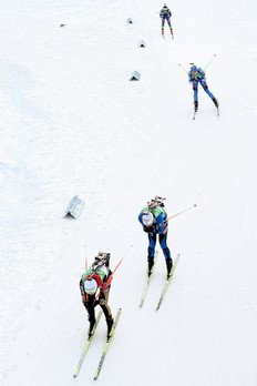HOCHFILZEN, AUSTRIA - DECEMBER 13: Martina Beck of Germany competes infront of Marie Laure Brunet of France and Svetlana Sleptsova of Russia during the Women's 4x6 km Relay in the IBU Biathlon World Cup on December 13, 2009 in Hochfilzen, Austria.