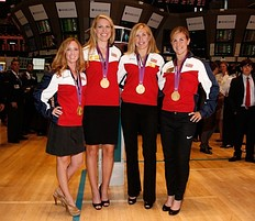 NEW YORK, NY � AUGUST 15: (L to R) U.S. Olympic gold medalists in Women's Rowing Mary Whipple, Esther Lofgren, Meghan Musnicki and Erin Cafaro ring the opening bell at the New York Stock Exchange on August 15, 2012 in New York City.