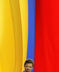 Colombia's President Juan Manuel Santos gives a speech during a ceremony to award Olympics Games London 2012 medallists with the Order of Boyaca medal at the presidential palace in Bogota August 15, 2012. Colombia won eight medals in total in the London Olympics.