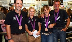 AUCKLAND, NEW ZEALAND � AUGUST 21: (L-R) Jonathon Paget, Jonelle Richards, Caroline Powell and Mark Todd of the New Zealand Olympic Equestrian team pose for a photo arrives home after competing in the London 2012 Olympic Games, at Auckland Airport on August 21, 2012 in Auckland, New Zealand.