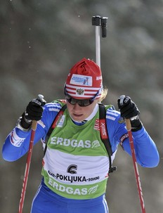 Russia's Iana Romanova competes during the Biathlon World Cup women's individual competition in Pokljuka December 17, 2009.