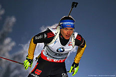 Ruhpolding (Germany), 12/01/2013.- Norway's Emil Hegle Svendsen reacts after taking the fourth place in the men's 10km Sprint race at the Biathlon...