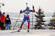 Alexandr Loginov of Russia competes in the men's 12.5 km pursuit race at the Biathlon World Cup in Oslo