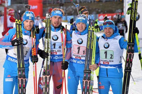Картинки по запросу Российские спортсмены выиграли мужскую эстафету на чемпионате мира по биатлону в австрийском Хохфильцене.