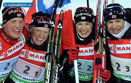 Сборная Норвегии выигрывает смешанную эстафету ЧМ-2011